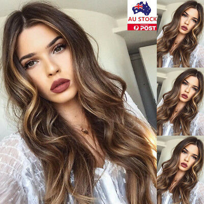 Women Ombre Black Blonde Long Wavy Hair Wigs Full Head Synthetic Natural Wig+Cap