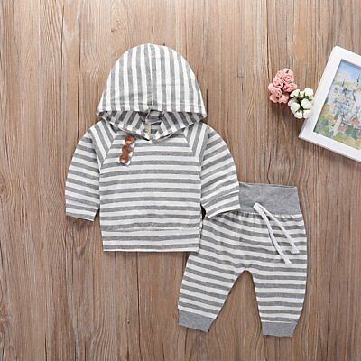 2pcs Newborn Toddler Baby Boy Girl Clothes Striped Hooded Tops+Pants Outfits Set
