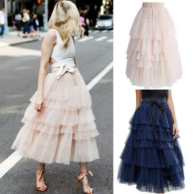 Layer Tulle Skirt Womens Vintage Dress 50s Rockabilly Tutu Petticoat Ball Gown