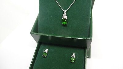 Sterling Silver Platinum plated Green Diopside & White Topaz Necklace & Earrings