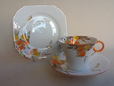 Shelley Art Deco Regent Orange  'Acacia' Trio Teacup Saucer & Plate