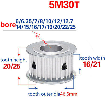 HTD 5M-30T-16/21W 6-25mm Bore 5mm Pitch Timing Belt Drive Pulley Idler Pulley