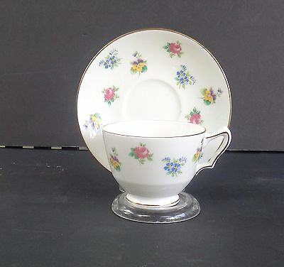 Crown Staffordshire Fine Bone China Made In  England Cup & Saucer - Floral