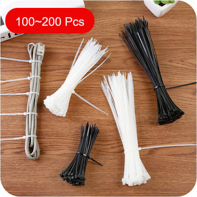 100 X Quality Cable Ties Zip Wrap Tie Black White Strong Cord Fastener 3 Sizes