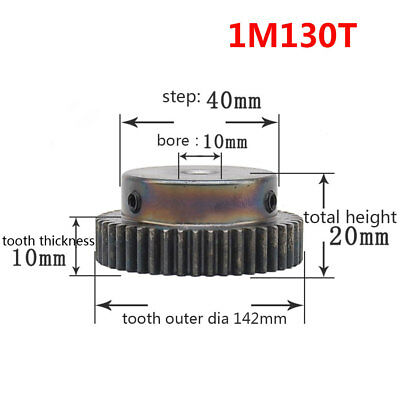 1 Mod 130T Spur Pinion Gear #45 Steel Motor Gear Bore 10mm With Fixing Screws