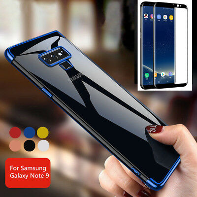 For Samsung Galaxy Note 9 360° Full Shockproof TPU Case Cover + Tempered Glass