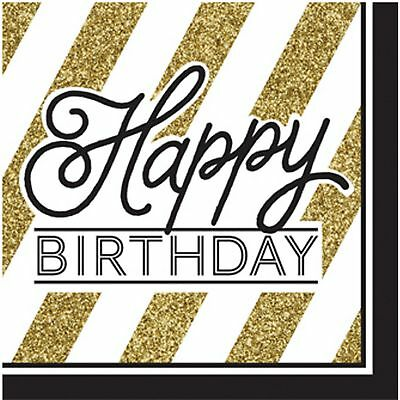 Creative Converting Black And Gold Happy Birthday Napkins (Pack Of 16) (SG11274)