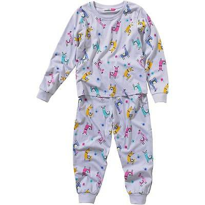 Cozy n Dozy Younger Girls Cute Llama Print Pyjama Set Long Leg Colourful 2-7yrs