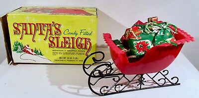 Vntg Falco Candy Hard Plastic Santa's Sleigh in Original Box