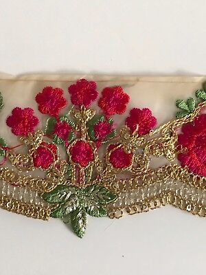 Indian Pink & Green Floral Embroidery On Fine Fabric Cutwork Edge Trim/lace-1Mtr