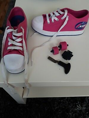 Excellent Condition - girls X2 heeleys pink & white, UK size 3 worn twice.