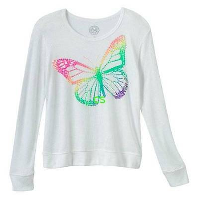NWT $30-Girls Plus Size SO White Butterfly Scoopneck Long Sleeve Tunic Top- 20.5