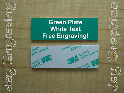 Engraved 1x3 Green Tag Sign Plate  | Custom Personalized w/ Adhesive Backing