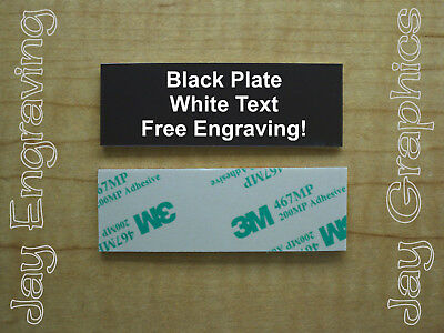 Engraved 1x3 Black Tag Sign Plate  | Custom Personalized w/ Adhesive Backing
