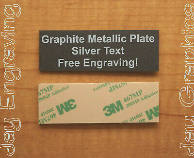 Engraved 1x3 Graphite Metallic Tag Sign Plate | Custom Personalized | Adhesive