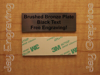 Engraved 1x3 Bronze Tag Sign Plate  | Custom Personalized w/ Adhesive Backing
