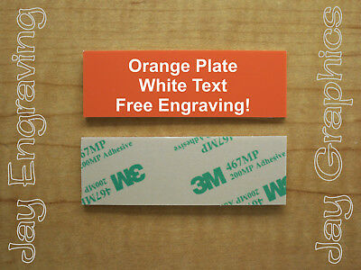 Engraved 1x3 Orange Tag Sign Plate  | Custom Personalized w/ Adhesive Backing
