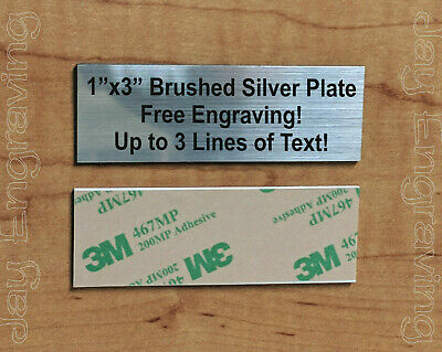 Engraved 1x3 Silver Tag Sign Plate  | Custom Personalized w/ Adhesive Backing