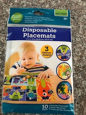 Baby Disposible  Feeding Travel Placemats BPA Free Pack Of 10 New