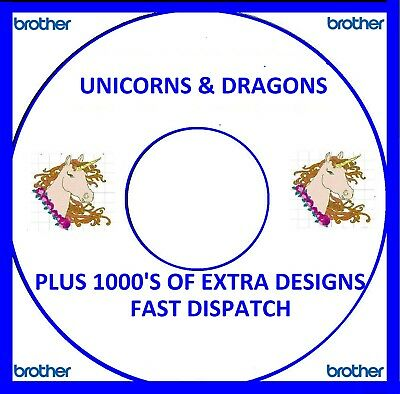 Unicorns & Dragons Embroidery Designs, Pes Format Buy 2 Cds Free Font Cd L767