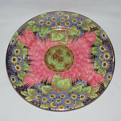 MALING ENGLAND DAISY PINK AND GOLD LUSTRE PLATE c.1935