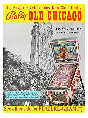 Bally OLD CHICAGO Pinball Machine Flyer Brochure