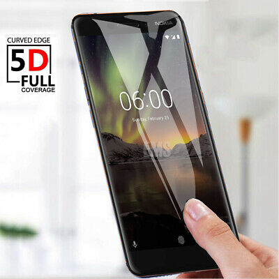 5D Full Coverage Tempered Glass Screen Protector For Nokia 2.1 3 5 6 X6 6.1 8