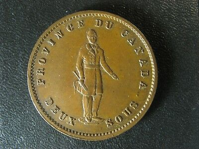 PC-4 One Penny token 1852 Province of du Canada Quebec Bank Breton 528