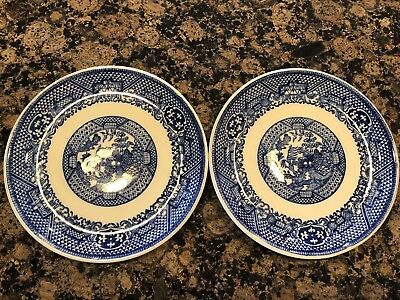 "Vintage Blue Willow 6"" Dessert / Bread Plate Pair 10L"
