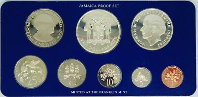 1975 Jamaica 8 Coin Proof Set in Franklin Mint Holder with COA - O760