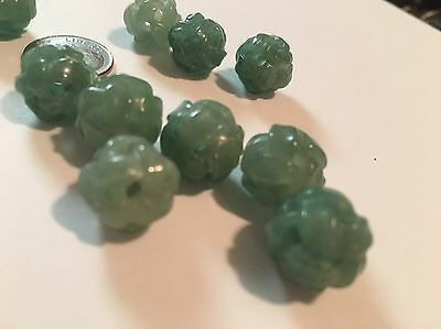 Vintage Carved Chinese Green Aventurine Stone Round Bead Endless Knot 12mm -13mm