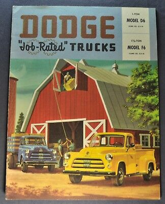 1954 Dodge Truck Brochure Pickup Stake 1 to 1.5 Ton Excellent Original 54