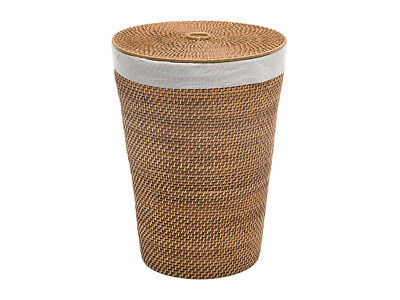 Laguna Round Rattan Hamper With Liner Compact Size Honey