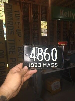 Massachusetts Motorcycle License Plate Vintage 1963 Antique Harley Indian Low #