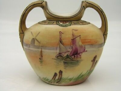 Nippon Vase, Hand Painted Sailing Sailboat Windmills Boat
