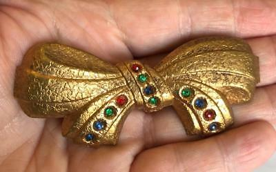 """Vintage 1940's Extra Large Brass Bow Brooch 3.5"""" Multi Colored Rhinestones Pin"""