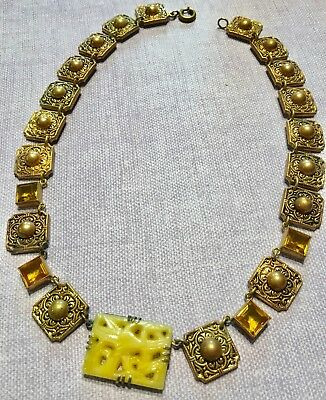 Vtg Neiger Art Deco GP Panel Choker w/ Molded Carved Vaseline Topaz Glass-Estate