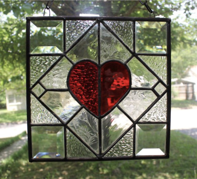 """Stained Glass Suncatcher Red Heart of Love 8"""" x 8"""" square"""