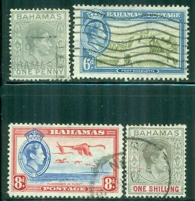 BAHAMAS 101A,107-08,110 SG149,155,159-60 Used 1938-46 KGVI short Cat$6