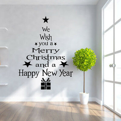 3 Colors DIY Merry Christmas Glass Shop Window Wall Stickers Decal Xmas Decor