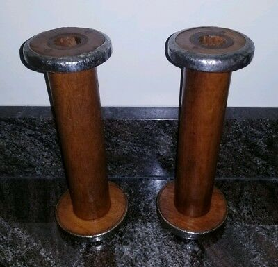"""Set of 2 Antique Textile Mill Wood 9"""" Spools Bobbins Rustic Candle Holders"""