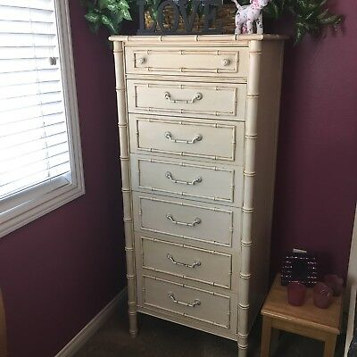 Thomasville Allegro Faux Bamboo Tall Dresser Lingerie Chest