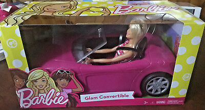 Barbie Glam Convertible Pink and Barbie Doll NIB