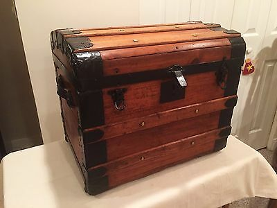 Dome-Top Vintage Steamer Trunk with Metal Straps - Rare Size!