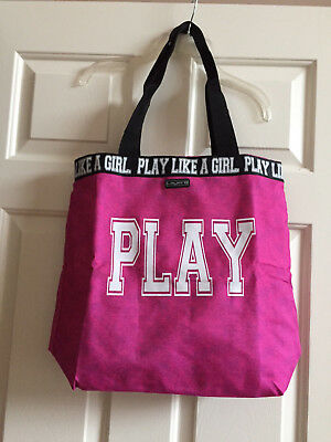 """NWT $30.00 Layer 8. Girls Spirit Tote """"Play Like A Girl"""". Pink."""