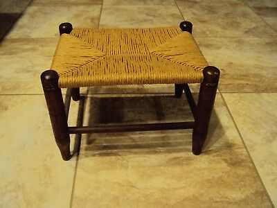 Beautiful Small Vintage Antique woven top Foot Stool ,9x12x10