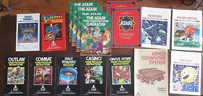 Lot of Atari 2600 Vintage Catalogs and Instructions (Space Invaders, Pac-man)
