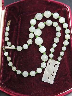 Antique Chinese Carved White & Spinach Jade Buddha Necklace Longevity Signature