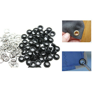Eyelets Grommets Matt Black with Washers Leather Craft Belts Canvas Banners 6mm