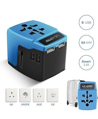 Travel Power Adapter Universal Adapter for Dual Voltage Appliances 8 Amps,6 USB